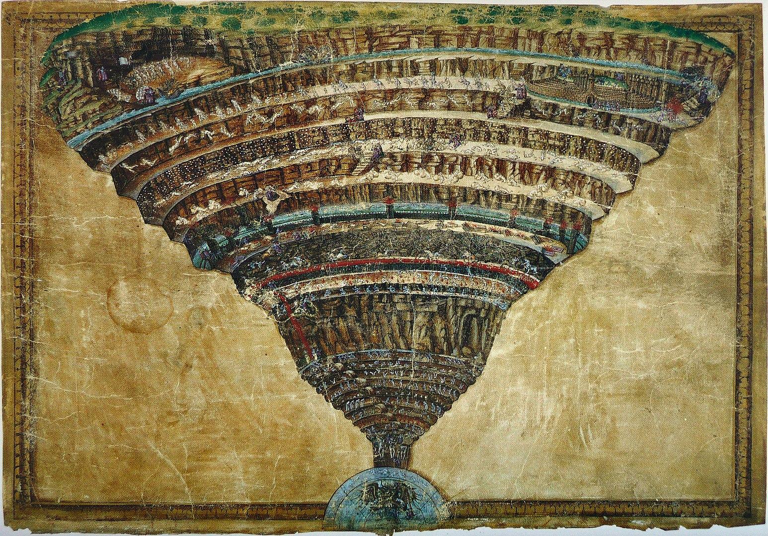Sandro Botticelli, La voragine infernale, 1480-1490