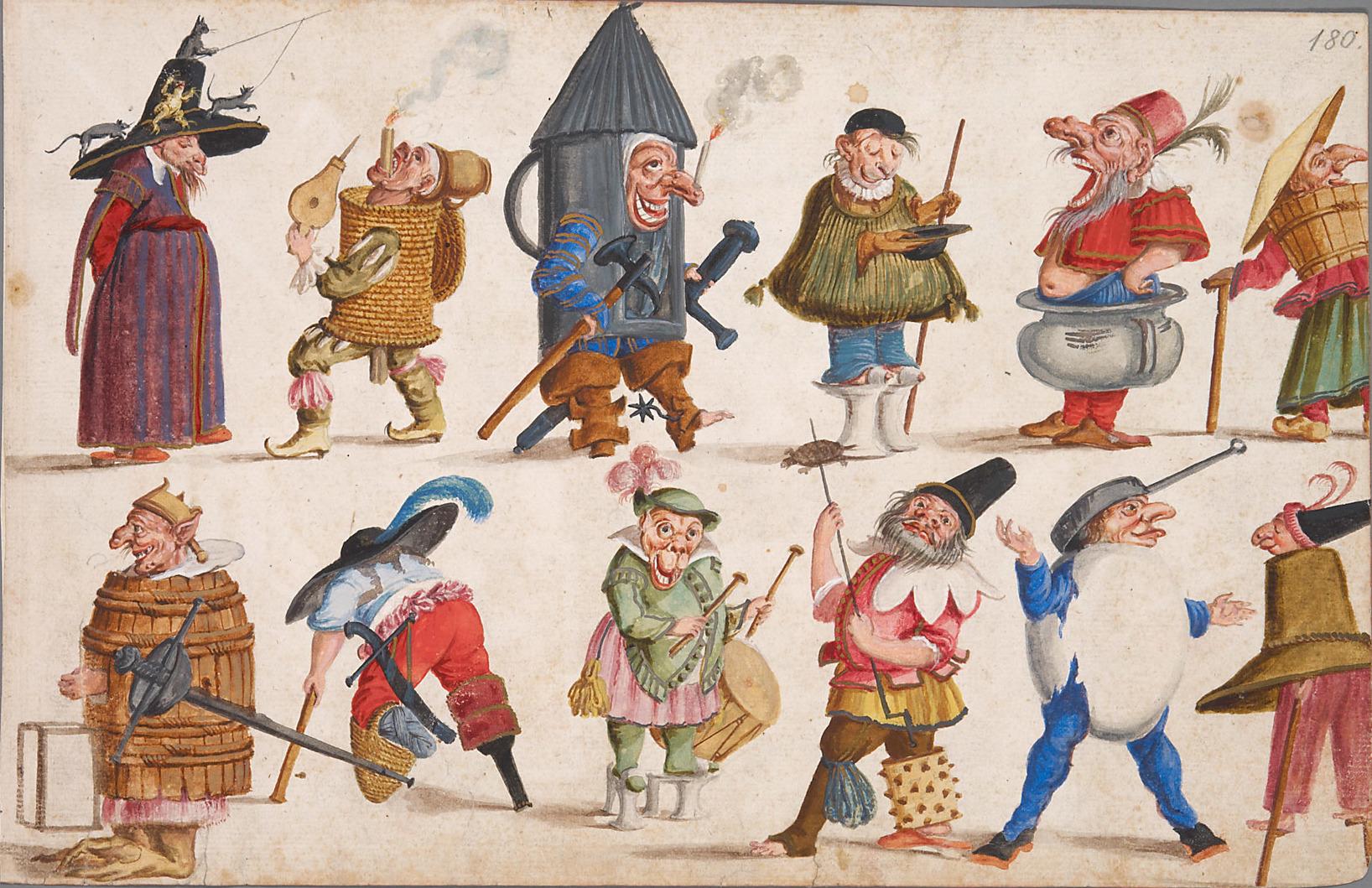 """Ludovico Ottavio Burnacini, Disegni di costumi per il """"grottesco"""" e la commedia dell'arte, 1680"""